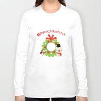 cartoons Long Sleeve T-shirts featuring Festive Christmas Cartoons on Chevron Pattern by Kirsten Star