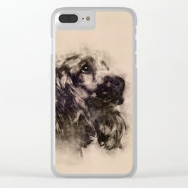 English Cocker Spaniel Sketch Clear iPhone Case