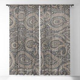 Beautiful Pattern of Paisley Art, Flowers, Doodles - Gradient Gold Pattern Sheer Curtain