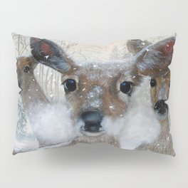 Deer in the Snowy Woods Pillow Sham
