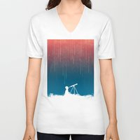 astronomy V-neck T-shirts featuring Meteor Rain (light version) by Picomodi