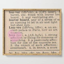 Love Dictionary Page With Sketchy Pink Heart Serving Tray