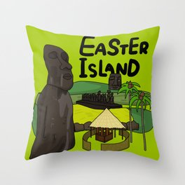 Easter island drawing illustration Throw Pillow