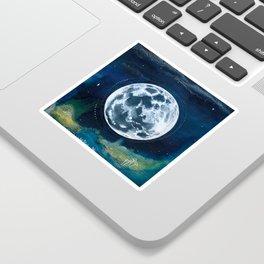 Full Moon Mixed Media Painting Sticker