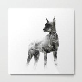 Doberman Pinscher NYC Skyline Metal Print
