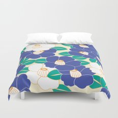 Japanese Style Camellia - Blue and White Duvet Cover