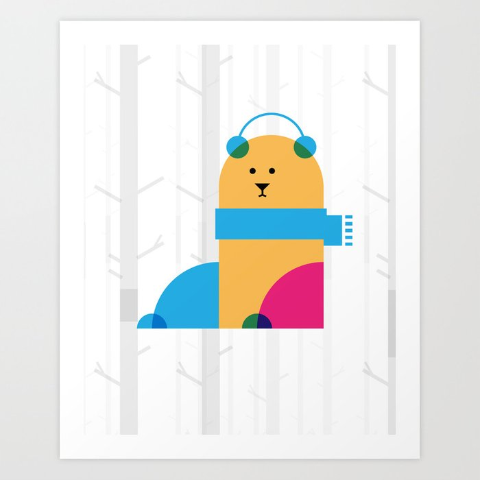 THE MISSING SCARF - Bear Art Print
