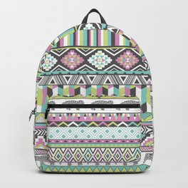 Tribal Geometric Elephant Pattern in pink, teal, and green Backpack