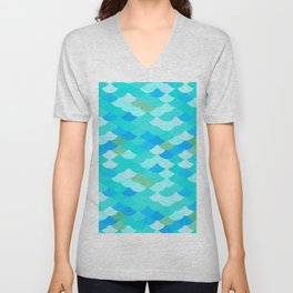 pattern scales, wave abstract simple Nature background mermaid Unisex V-Neck