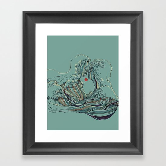 Kissing The Wave Framed Art Print