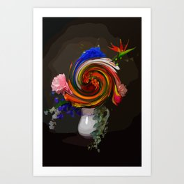 "Still life with a bouquet of flowers ""Swirl it up"" Art Print"