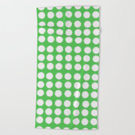 milk glass polka dots in light green Beach Towel