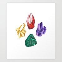 minerals Art Prints featuring Minerals by kristinesarleyart