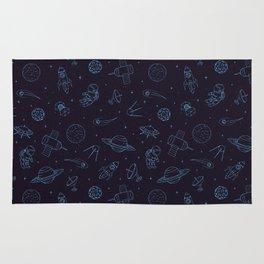 Blue Space Pattern Rug