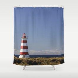 Stripped Lighthouse - Briar Island, Nova Scotia Shower Curtain