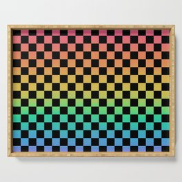 Rainbow and Black Checkerboard Serving Tray