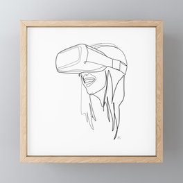 """""""Gaming Collection """" - Girl Wearing Virtual Reality Goggles Framed Mini Art Print"""
