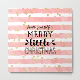 Christmas pink watercolor stripes gold confetti Metal Print
