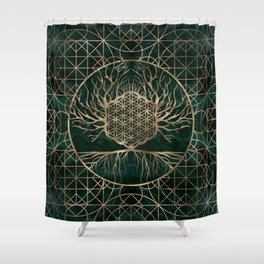 Flower of Life in Tree of life Malachite and Gold Shower Curtain
