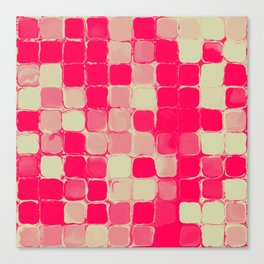 abstract squares pink and pale yellow Canvas Print
