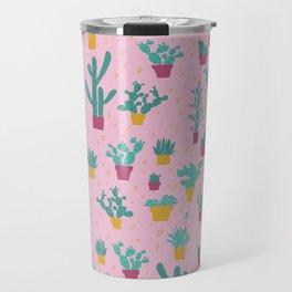 Pink Cactus Pattern Travel Mug