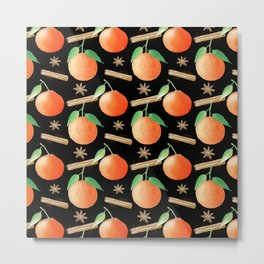 Tangerines, Cinnamon and Star Anise Watercolor Illustration and Pattern on Black Metal Print