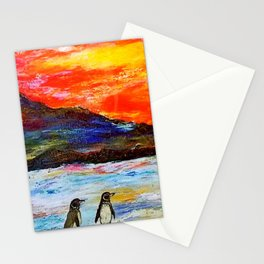 Beautiful Penguins With Sea Lion By The Blue Ocean Painting Stationery Cards