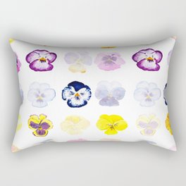 colorful pansies watercolor painting Rectangular Pillow