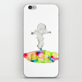 Girl jumping rainbow puddle iPhone Skin