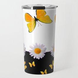 BLACK MODERN ART YELLOW BUTTERFLIES & WHITE DAISIES  ABSTRACT Travel Mug