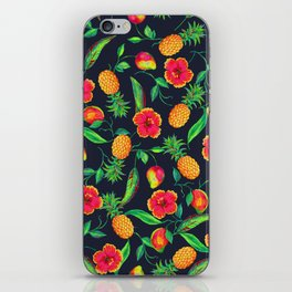 Tropical fruit and flowers iPhone Skin