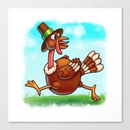 Thanksgiving Running Turkey - Digital Painting Illustration Canvas Print