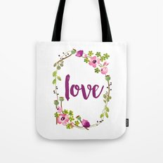 Floral Wreath Watercolor - Love - by Sarah Jane Design Tote Bag