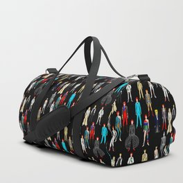 Heroes Scattered Pattern Black Duffle Bag