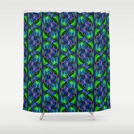 Green And Blue Pinwheel Swirls Shower Curtain