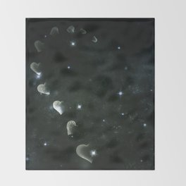 Cosmos Half Hart of Harts in Black & White Throw Blanket