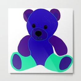 Blue Green Purple Teddy Bear Metal Print