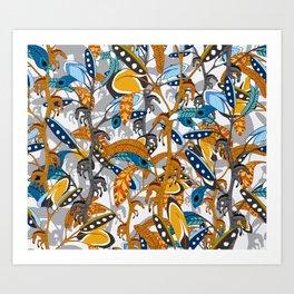 Multicolor Horse Feathers Art Print