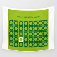green lantern Wall Tapestries featuring No120 My GREEN LANTERN minimal movie poster by Chungkong