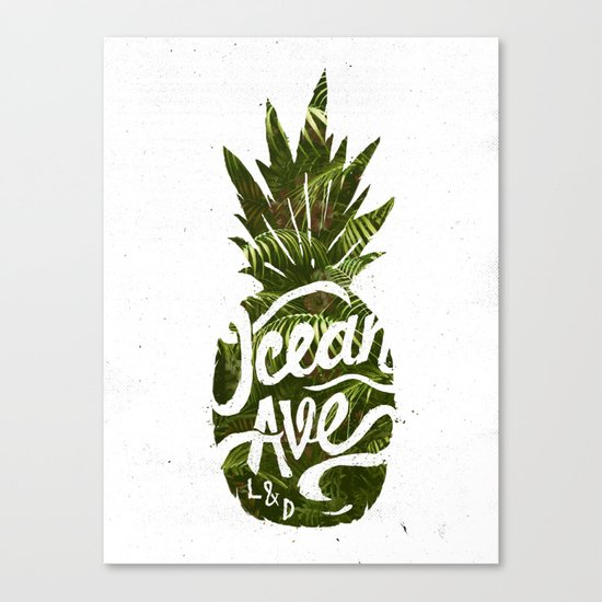 Ocean Ave Lettering and Design Pineapple Logo Canvas Print