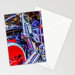 Blue And Red Grunge Mechanical Drives Of A Vintage Steam Engine Locomotive Stationery Cards