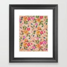 Golden Flitch (Digital Vintage Retro / Glitched Pastel Flowers - Floral design pattern) Framed Art Print