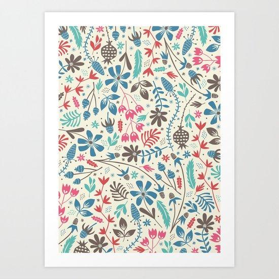 Retro Blooms Art Print