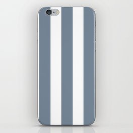 Light slate gray - solid color - white vertical lines pattern iPhone Skin