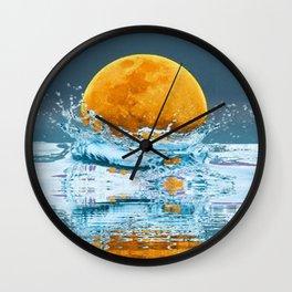 FALLING MOON OCEAN SCI-FI ILLUSION Wall Clock