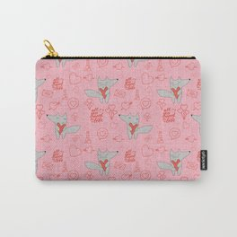 Fox in love pink Hearts Carry-All Pouch