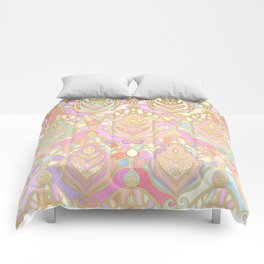 Rosy Opalescent Art Deco Pattern Comforters