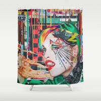 peter pan Shower Curtains featuring Pan by Katy Hirschfeld