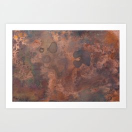 Tarnished, Stained and Scratched Copper Metal Texture Industrial Art Art Print