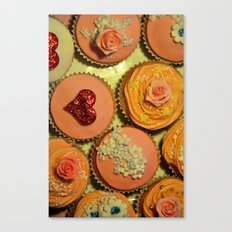 Heart and Floral Cupcakes Canvas Print